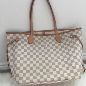 Authentic preowned lv Neverfull MM Azur